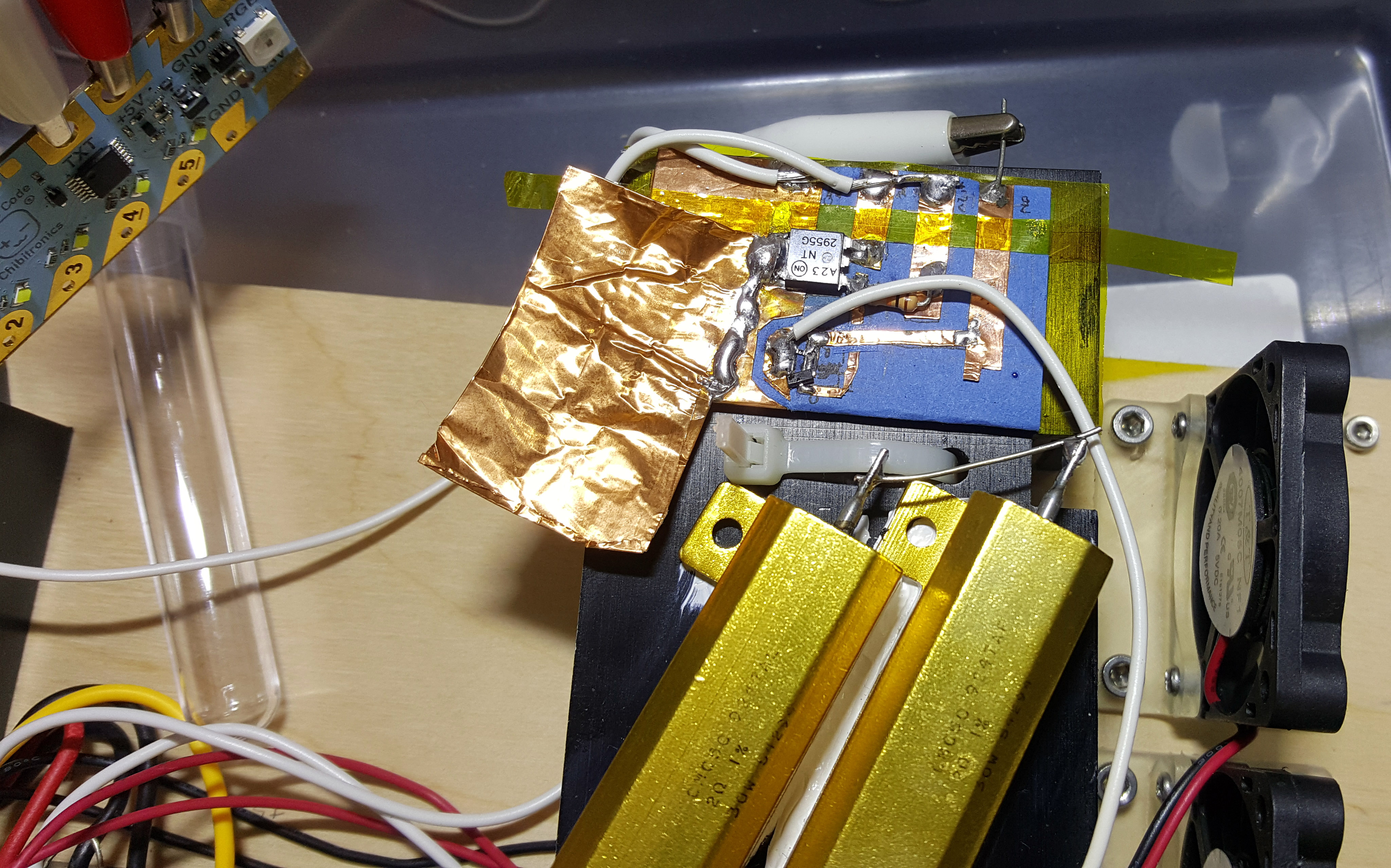 Chibitronics Bunnies Blog Circuit Can Be Used As A Standalone Voice Recorder View Thats 12a Power Transistor And This Heater Control Use Much Of That Ampacity Additional Copper Foil Was Soldered On For Extra Heat Sinking